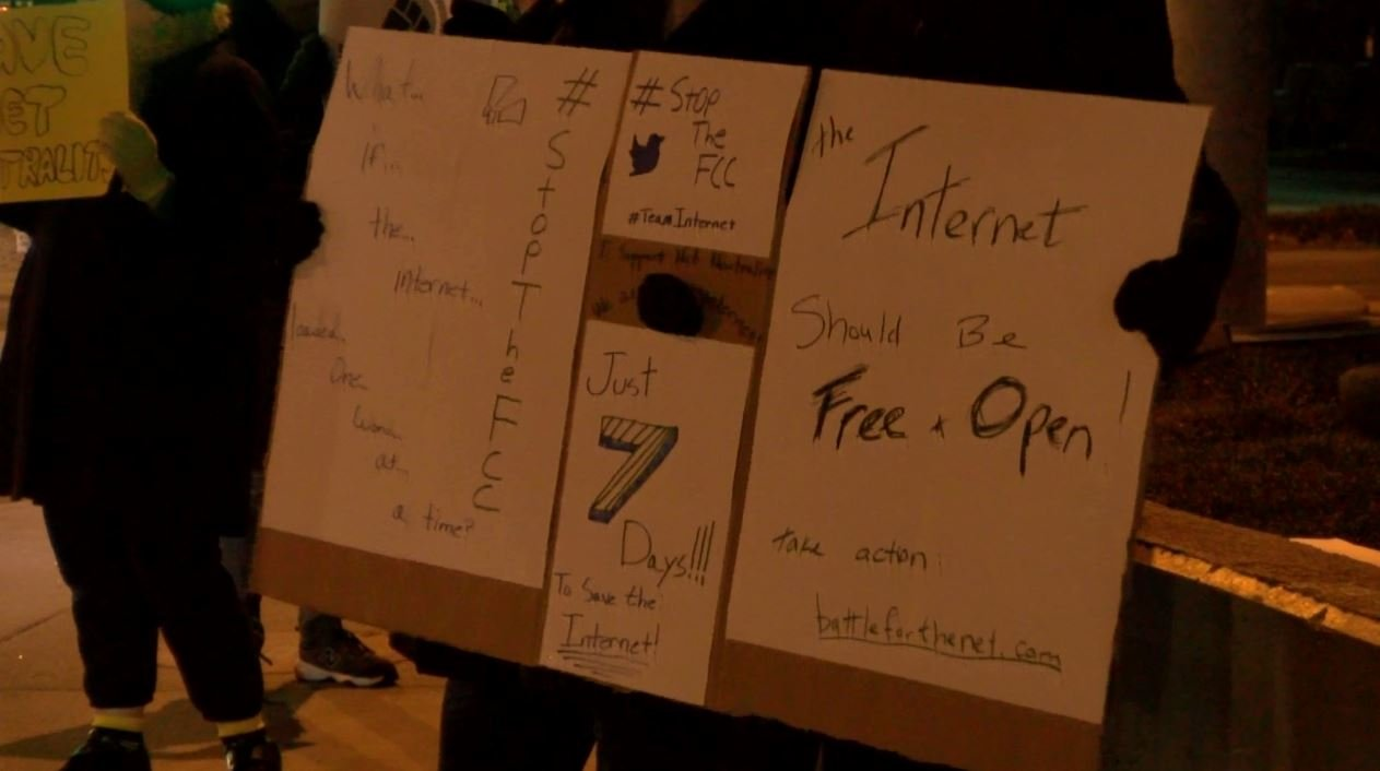 Local residents gather in support of net neutrality