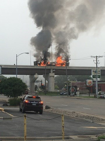 Semi Truck Carrying Hotdogs Catches Fire On Dodge