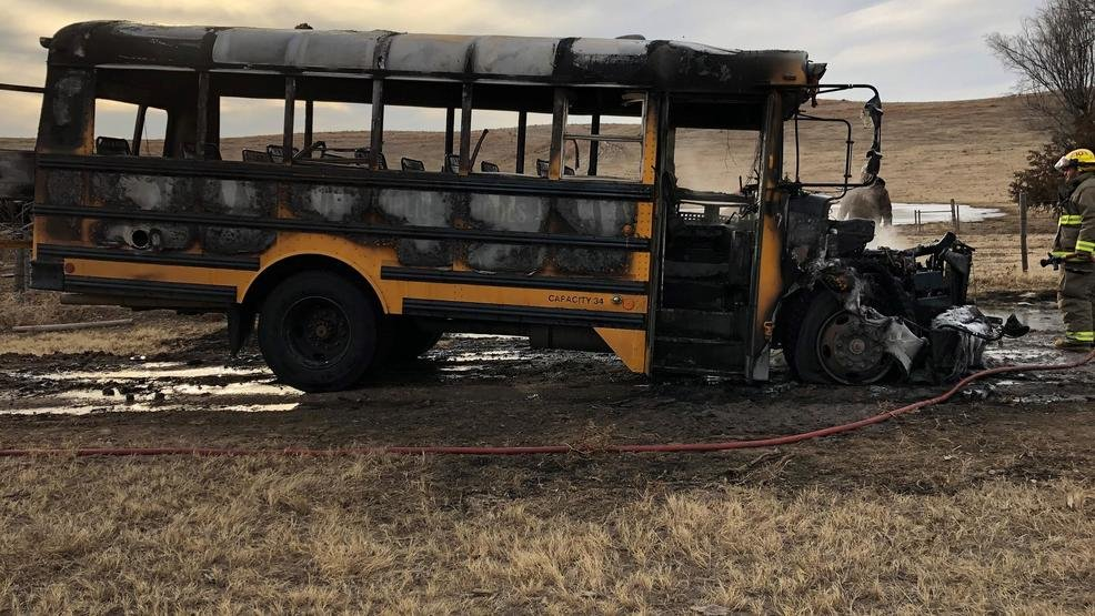 3a7c61b8ca Quick thinking by a school bus driver saved more than a half dozen Hayes  Center students before a bus went up in flames.