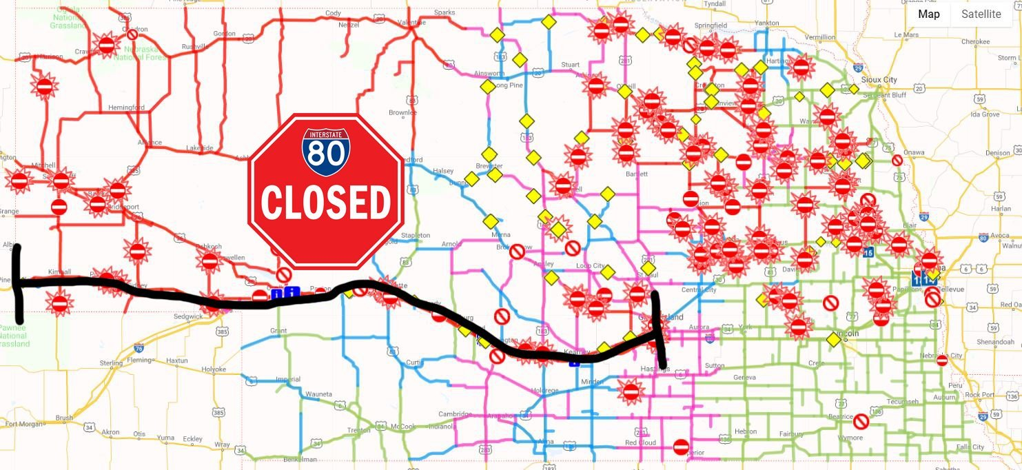 westbound i-80 closed from grand island to wyoming